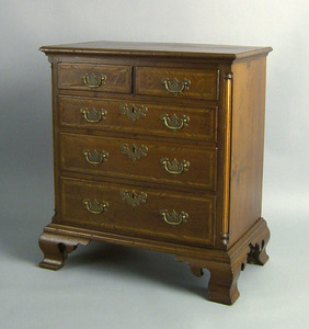 Chippendale style walnut diminutive chest of drawe