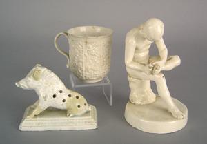 English salt glaze cup, late 18th c., 3