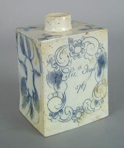 English salt glaze stoneware caddy dated 1767, ins