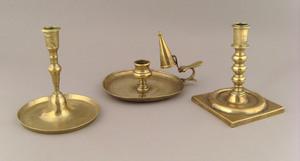 George III brass chamberstick and snuffer, late 18
