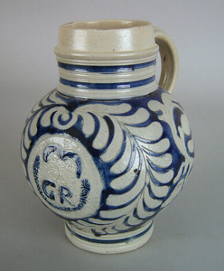 Westerwold jug, 18th c., with incised cobalt decor