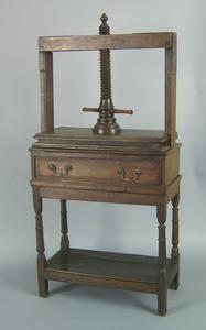English oak book press on stand, ca. 1750, 61