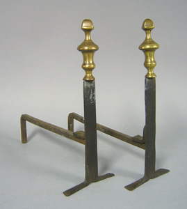 Pair of English or American knife blade andirons,a