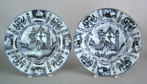Pair of Delft blue and white chargers, 18th c., wi