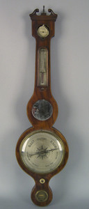 Regency mahogany banjo barometer, 19th c., signedP