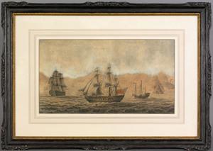 Samuel Owen(British, 1768-1857), watercolor Chinar