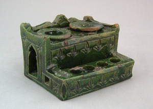 Green glaze redware standish, 19th c., with incise