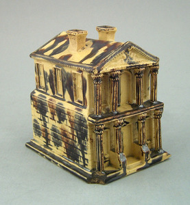 Earthenware model of a house, 19th c. with overall