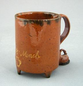 American redware mug dated 1827, inscribed