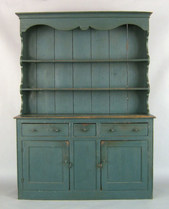 New England painted pine pewter cupboard, ca. 1770
