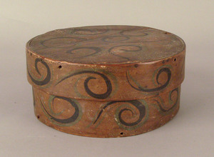 Painted pine bentwood band box, early 19th c., wit