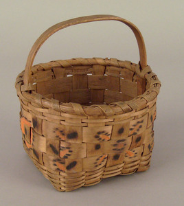 Maine Indian splint basket with vibrant orange and