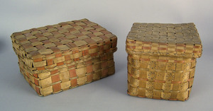 Two Maine Indian lidded splint baskets with stampe