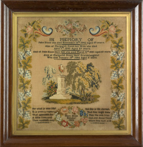 Wool on linen memorial needlework dated 1856 and w