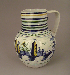 English pearlware pitcher with blue, green, and ru