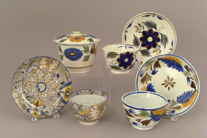Two Leeds cups and saucers, 19th c., with polychro