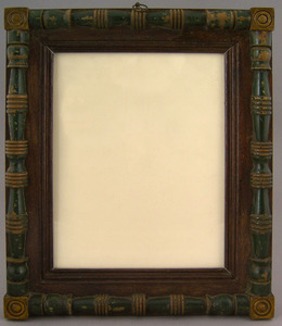 Mahogany frame, 19th c., with green and yellow pai