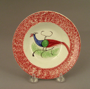 Red spatter cup plate, 19th c., with peafowl, 5
