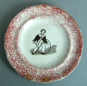 Red spatter toddy plate, 19th c., with transfer de