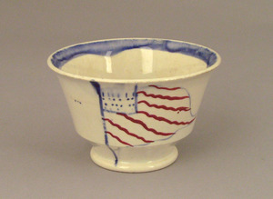 Pearlware cup, 19th c., decorated with an American