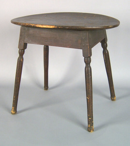 Pine and maple tavern table, 18th c., with an oval