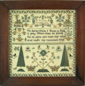 English silk on linen sampler dated 1862 wrought b