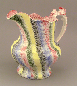 Five color rainbow spatter pitcher, 19th c., 8 1/2