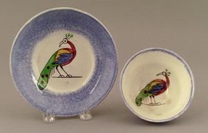 Blue spatter cup and saucer, 19th c., with spotted