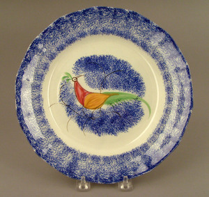Blue spatter plate, 19th c., with peafowl, 9 3/4