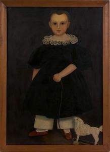 American School(19th c.), oil on canvas folk portr