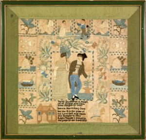 Harrisburg, Pennsylvania silk on linen sampler dat