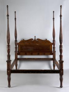 Federal mahogany tall post bed, 19th c., each post