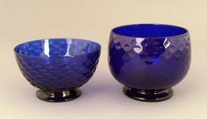 Two cobalt glass bowls, ca. 1830, 2 3/4