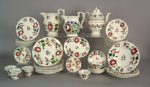 Adams rose dinner service, 19th c., to include a t