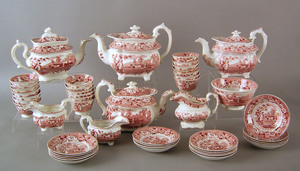Staffordshire tea service, 19th c., with red trans