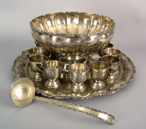 Mexican sterling silver punch service to include a