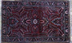 Two Hamadan throw rugs, ca. 1930, 5'5