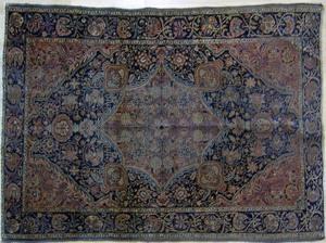 Kashan throw rug, 5' x 3'5