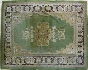 Roomsize Agra rug, ca. 1920, 12' x 9'.