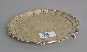English silver salver, 1859-1860, marked