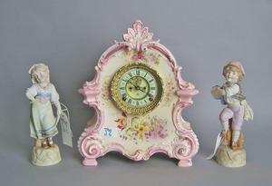 Ansonia porcelain mantle clock, 14 3/4