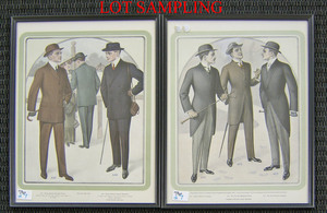 Set of 13 mens fashion colored lithographs, early0