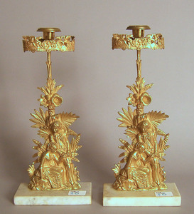 Pair of gilt metal candlesticks, early 20th c., 15
