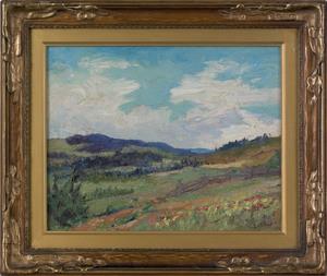 Edith Hoyt(American, 1894-1971), oil on board land