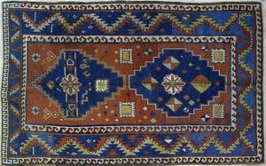 Kazak throw rug, ca. 1900, with 2 medallions on ae