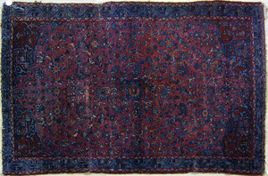 Malayer throw rug, ca. 1920, with overall floral p