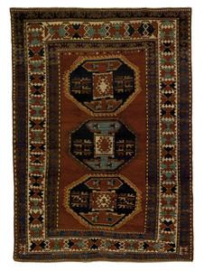 Kazak throw rug, ca. 1900, with 3 medallions on ae