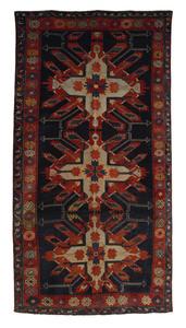 Eagle Kazak throw rug, ca. 1910, with 3 medallions
