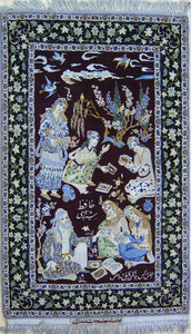 Qom throw rug, mid 20th c., with 6 figures on a re