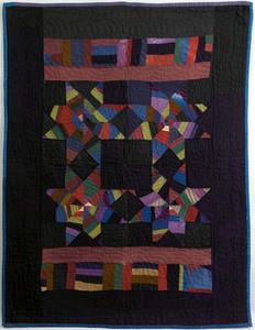 Rare Amish wool crib quilt with pieced stars, bloc